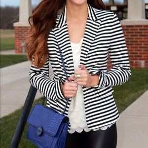 Black and white stripe one button blazer